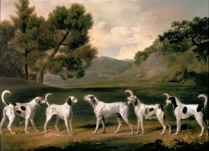 Five Hounds in a Landscape by George Stubbs, 1762