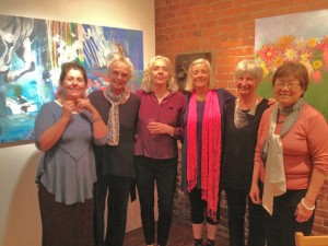 At the opening (left to right): Heidi Sandvoll, Loretta Wolfe, Carolyn Miller, Jane Baker, Jeanine Briggs, Anne Ming Wong.