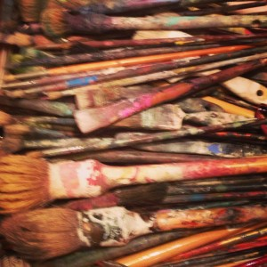 Leigh's paint brushes (photo by Gina Hyams)