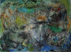"'Remembering the Forest', acrylic and charcoal on paper, 22"" x 30"", 2014"